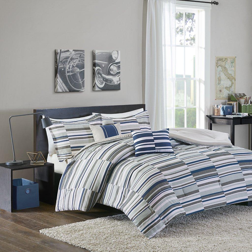 Intelligent Design Emmett Full/Queen Comforter Set Teen Boy Bedding - Navy, Grey, Stripes – 5 Piece Bed Sets – Ultra Soft Microfiber Bed Comforter