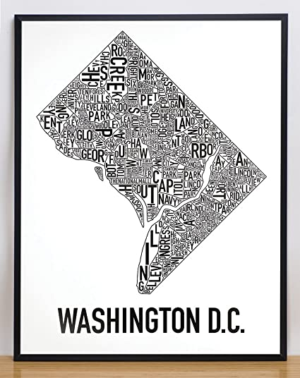 "Framed Washington DC Neighborhoods Map Art Poster, Black & White, 22"" x 28"""