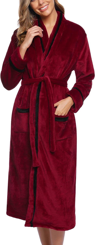Aibrou Albornoz de Ducha Mujer Bata de Ba/ño Franela con Cintur/ón Batas C/ómodo y C/álido Ropa de Dormir para Oto/ño e Invierno