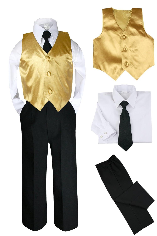 Amazon.com: Unotux 4pc Satin Gold Vest Black Boy Suit Set Baby ...