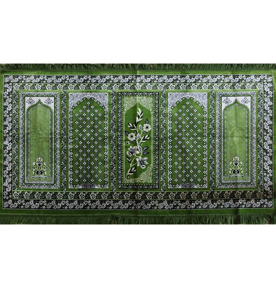 Prayer Rug - Wide 5 Person Velvet Janamaz Sajadah Musallah Mosque Carpet Green