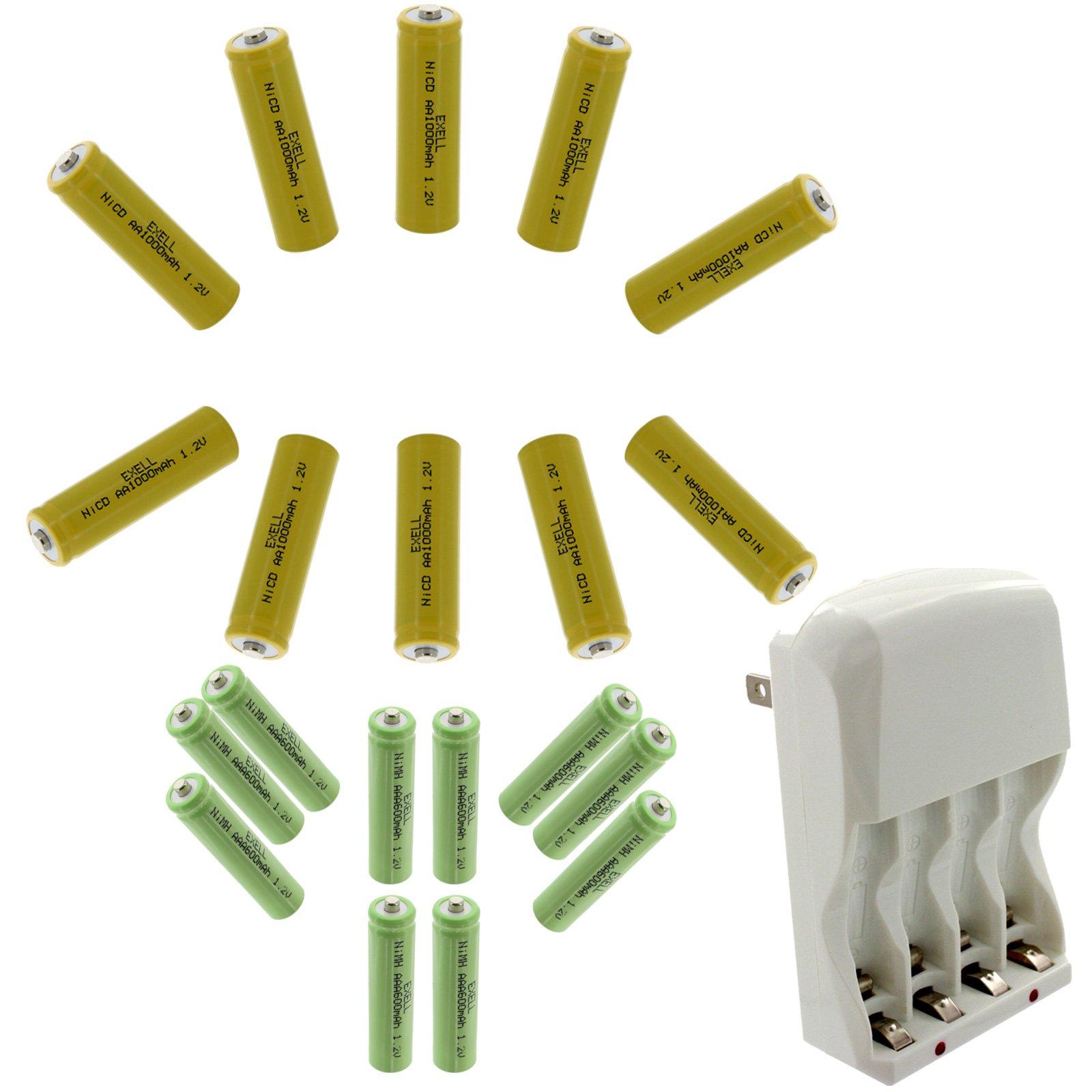 10x AA NiCD 1000mAh & 10x AAA 800mAh NiMH Rechargeable Batteries with Charger, Batteries Great for Path Lights Malibu Solar Garden Lights, Motion Sensor Lights, PDAs, Digital Cameras