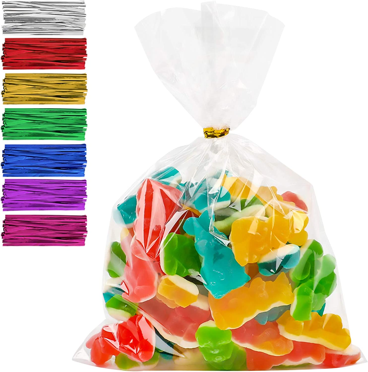 """Cellophane Treat Bags 6.3"""" x 9"""" 200pcs Clear Candy Bags with 200 Twist Ties, Bread Chocolate Jelly Bags, Bakery Bags"""