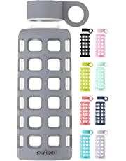 purifyou Premium Glass Water Bottle with Non-Slip Silicone Sleeve and Stainless Steel Lid Insert, 12 / 22 / 32 oz