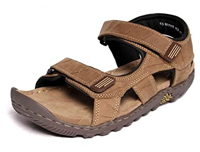 Woodland Men'S Camel Leather Sandals And Floaters( Size :-9 ...