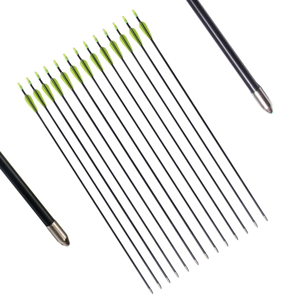 FlyArchery Fiberglass Arrows For Youth Longbow And Kid Bow, Recurve Compoound Bow(Pack of 12)