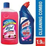 Lizol Disinfectant Floor Cleaner - 975 ml (Floral) with Harpic All in 1 Powerplus - 1 L (Rose)