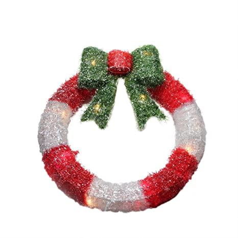 alger 16 lighted tinsel red and white wreath with bow christmas window decoration