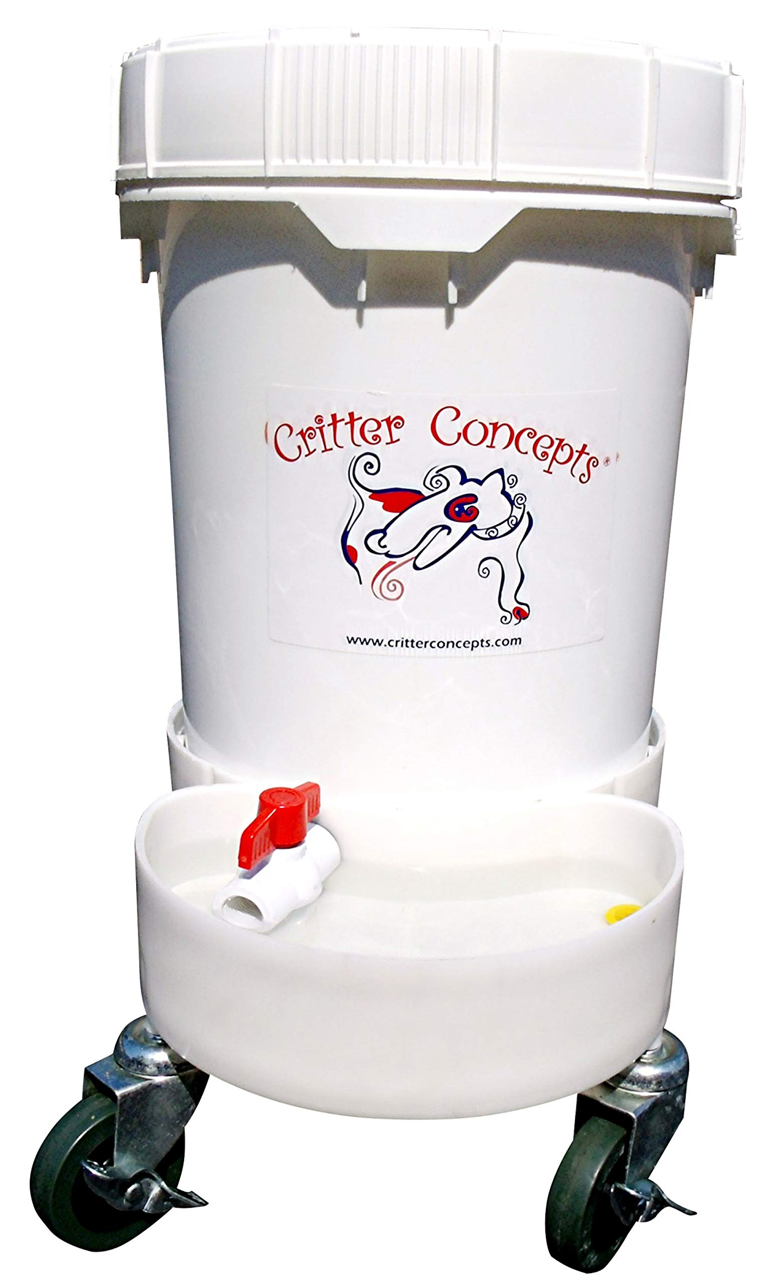 Critter Concepts Dog Water Dispenser – All Day Automatic Waterer for Thirsty Dogs – Large Rolling Pet Fountain Dog Water Bowl, Anti-Fall Indoor/Outdoor Self-Dispensing Gravity Design, Easy to Clean