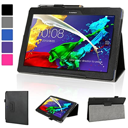 huge selection of f2c92 f1d19 Evecase Lenovo Yoga Tablet 2 10 Case, SlimBook Leather Folio Case Cover w/  Stand Cut-outs for Lenovo Yoga Tablet 2 (10') w/ Android (2-1050, 59426285  ...