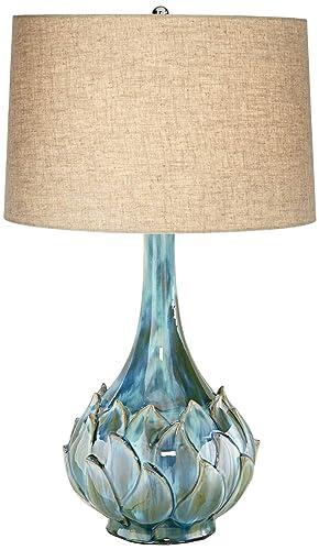 Kenya Modern Table Lamp Ceramic Blue Petals Vase Handmade Beige Linen Drum Shade for Living Room Family Bedroom – Possini Euro Design