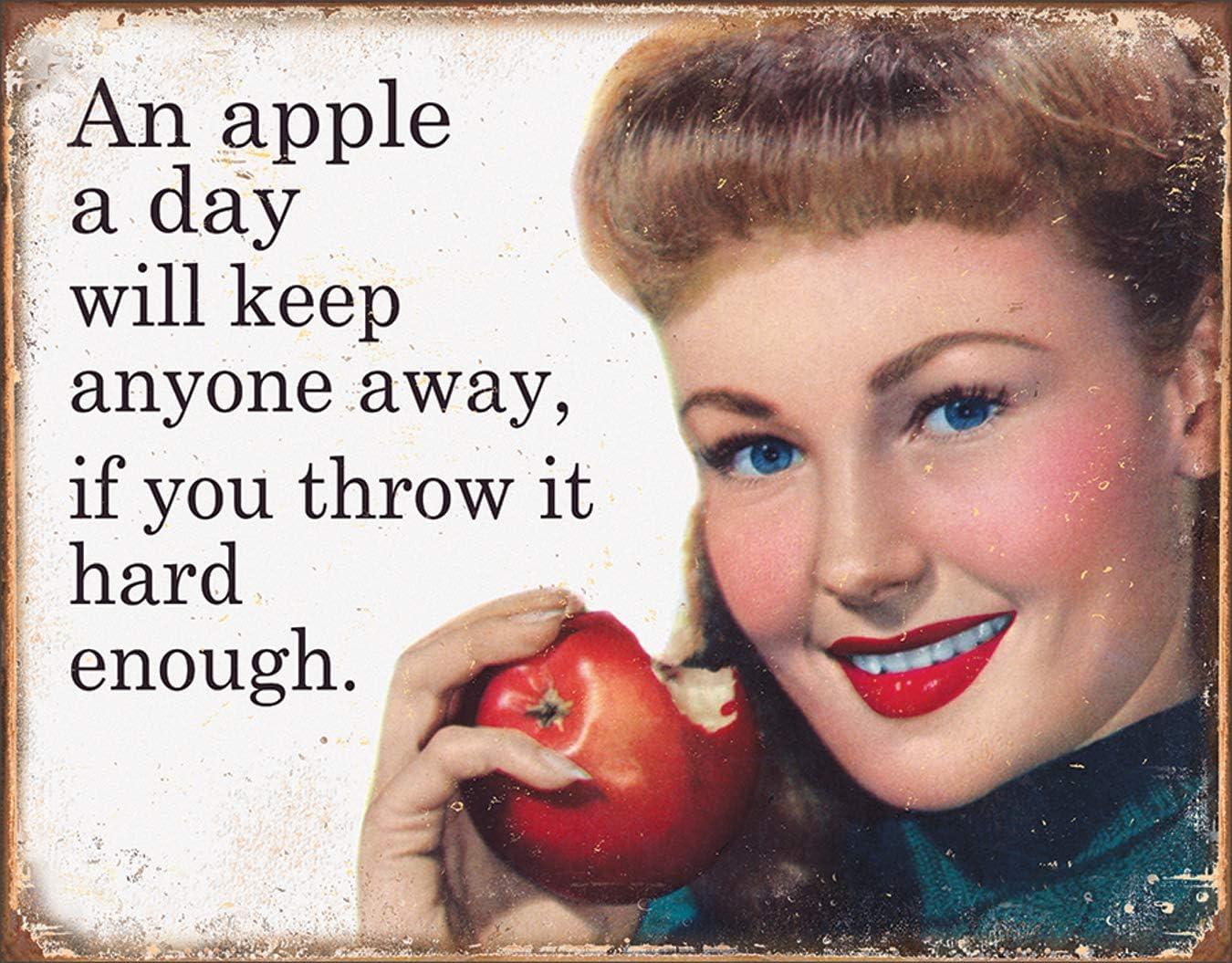 "Desperate Enterprises Ephemera - Apple A Day Tin Sign, 16"" W x 12.5"" H"