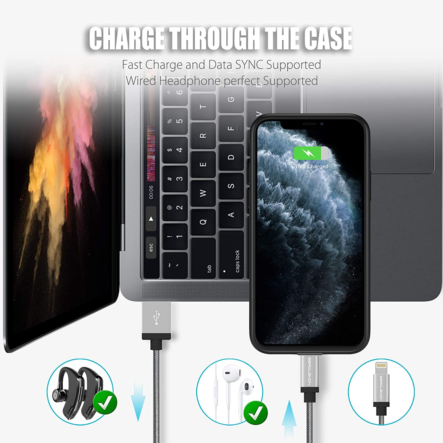 Headphone Support 4000mAh SlimJuicer Portable Protective Case ZEROLEMON iPhone 11 Pro 5.8 Battery Case Wireless Charge