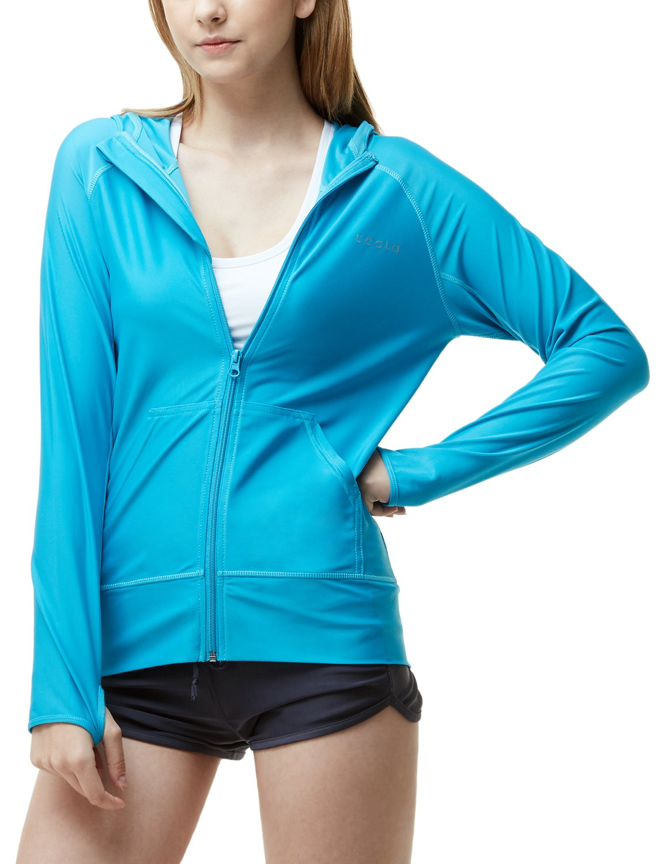TSLA Women's UPF 50+ Full & Half Zip Front Long Sleeve Top Rashguard Swimsuit
