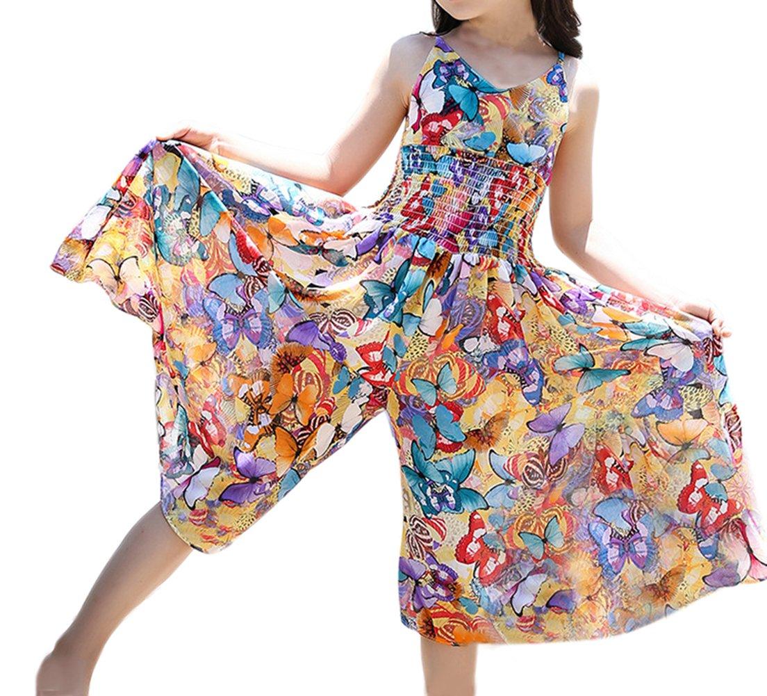 TAIYCYXGAN Girls Bohemia Dress Summer Butterfly Wide Leg Pants Jumpsuits Butterfly 140