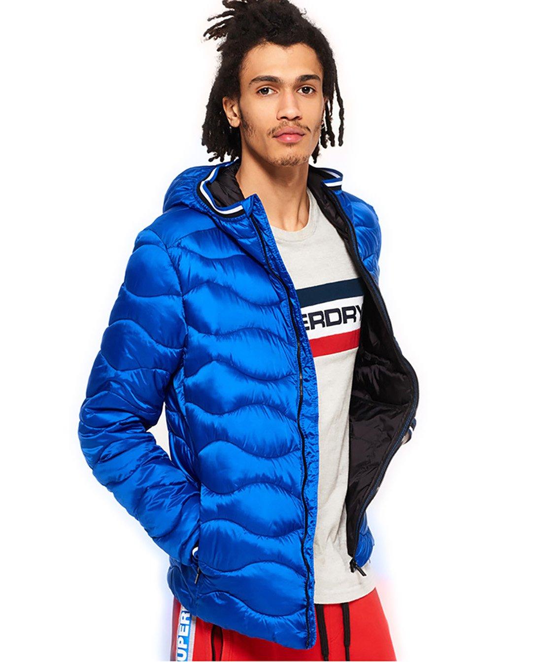 Superdry Men's Quilt Hooded Jacket, Flash Cobalt, M by Superdry