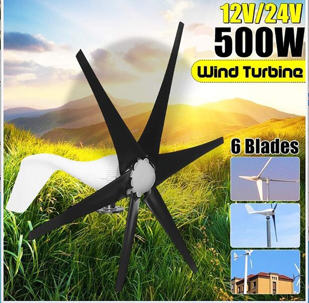DSDD Turbinas de Viento, 500W 12V / 24 V Turbinas de Viento de 6 Palas + Controlador Generador de Viento Energía Molino de Viento Turbinas de energía Carga Hogar o Camping