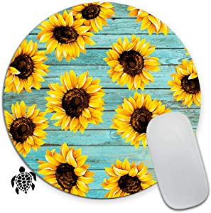 Gaming Mouse Pad for Kids Cute Mini Round Mouse Pads Mat with Nonslip Base for Boys Girls Sunflower Small Mousepad Comes with A Sticker for Laptop Computer PC Office,Teal Wooden