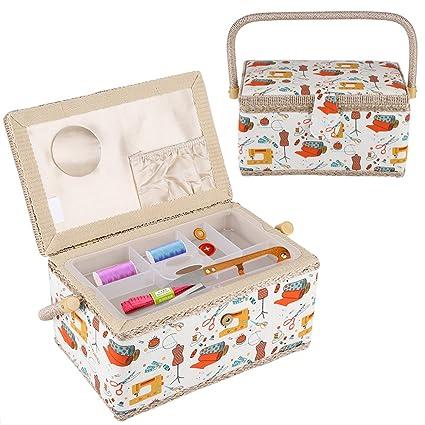 Amazon Com Sewing Kit Storage Case Sewing Basket Craft Box Fabric