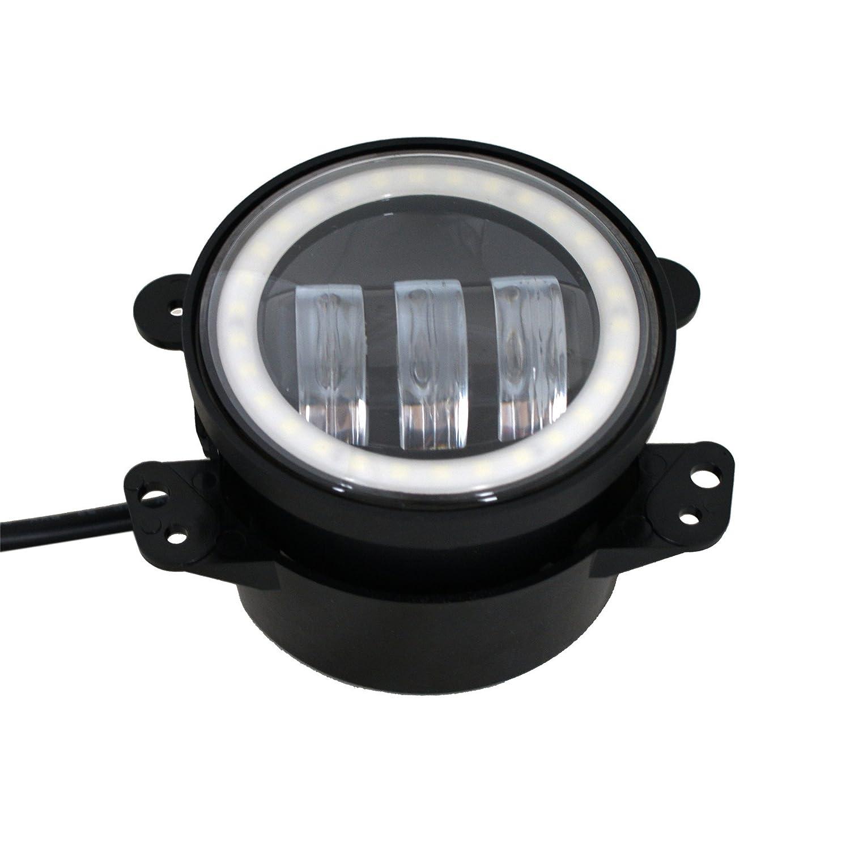 Lightbuddy 4 Led Fog Light 30w Cree Headlights Jeep Wrangler Lights White With Halo Angel Eye Ring Drl Turn Signal For Jk