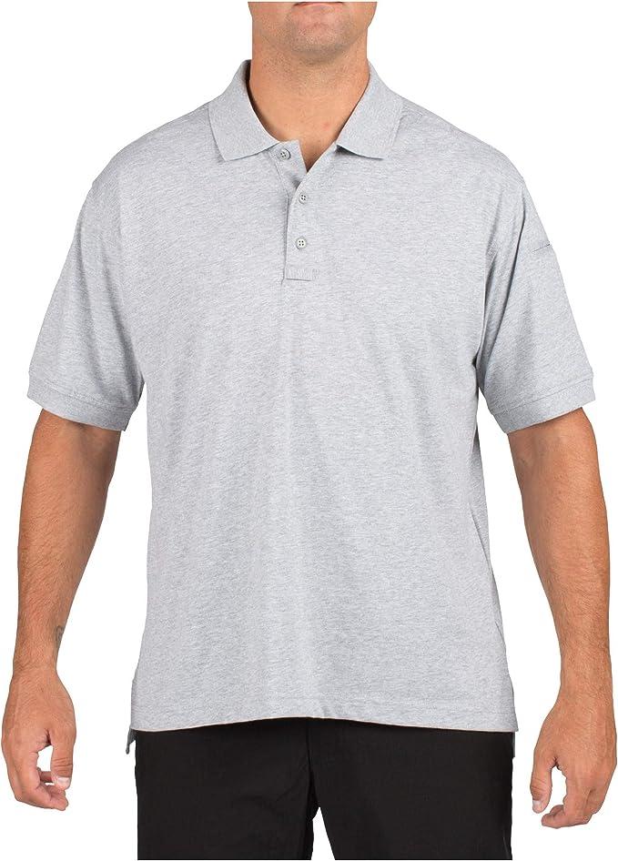 First Tactical Mens Cotton Short Sleeve Polo Pen Pocket Shirt Top Heather Grey
