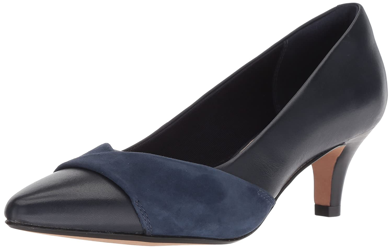 CLARKS Women's Linvale Vena Pump B077YBMN23 070 M US|Navy Leather/Nubuck Combi