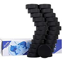 "Golden Sport Ice Hockey Pucks, 25pcs, Official Regulation, for Practicing and Classic Training, Diameter 3"", Thickness 1"", 6oz, Black"