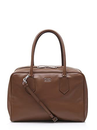 a0010ea149 Amazon.com  Prada Canella Brown and Turquoise Designer Bauletto Handbag  Satchel for Women 1BB009  Clothing
