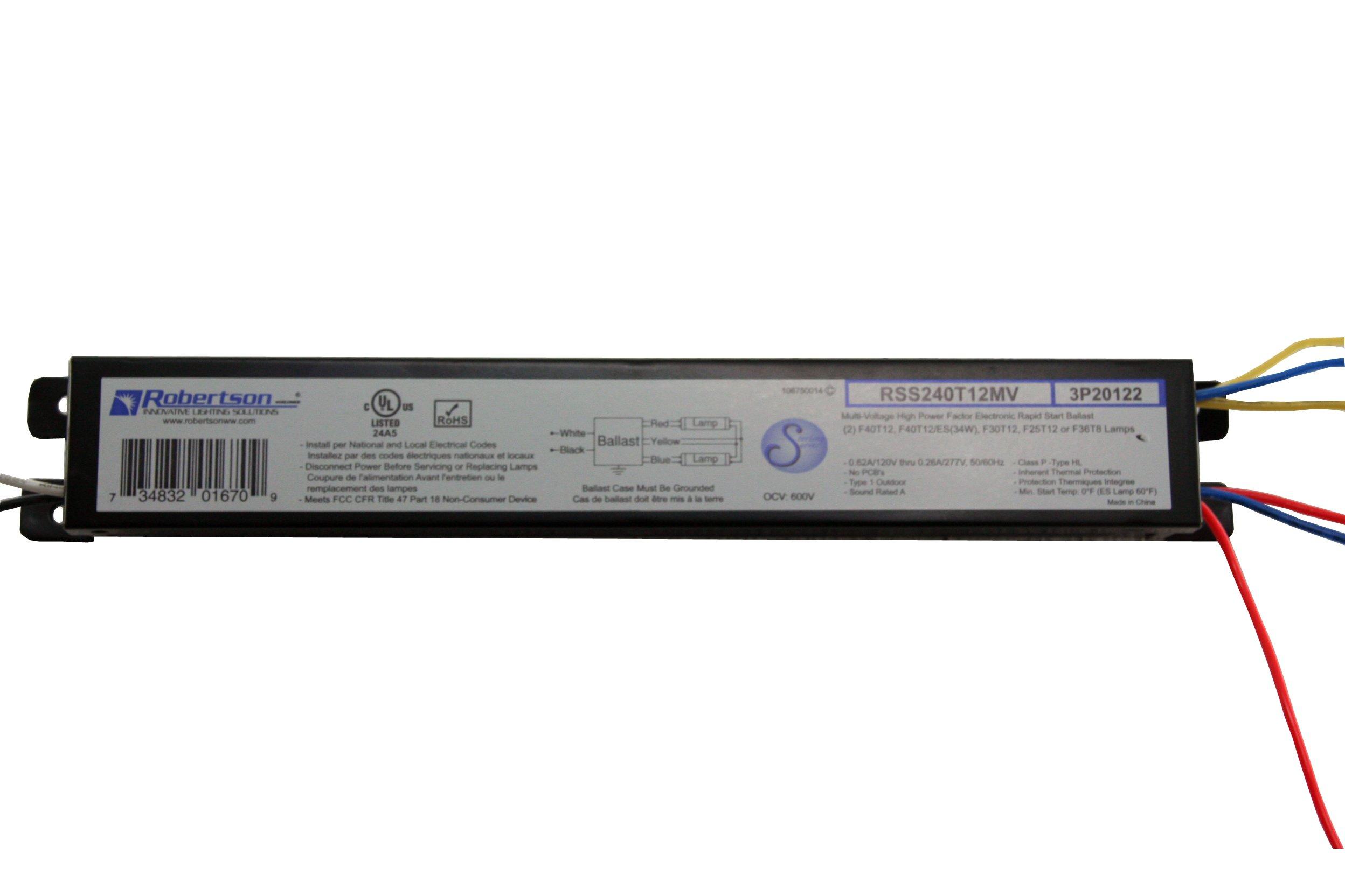 ROBERTSON 3P20122 RSS240T12MV /A Fluorescent eBallast for 2 F40T12 Linear Lamp, Rapid Start, 120-277Vac, 50-60Hz, Normal Ballast Factor, HPF (Successor to ROBERTSON 000791 RSS240T12MVIP)