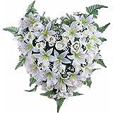 Ligne Déco 484905WO-W - Fiori artificiali per cimitero, vaso con zavorra, composizione di boccioli di rosa e gigli, 20 cm
