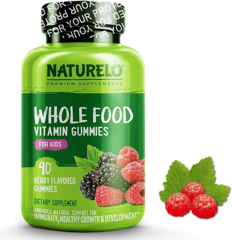 NATURELO Whole Food Vitamin Gummies for Kids – Best Chewable Gummy Multivitamin for Children – Organic Great Tasting Berry Flavor – Non-GMO – All Natural Vitamins, Minerals – 90 Vegan Gummies