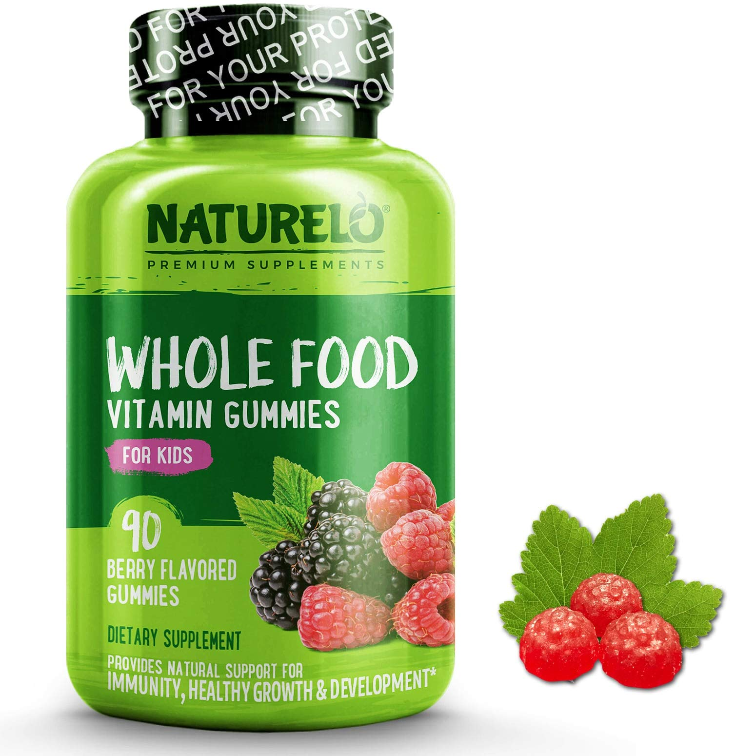 NATURELO Whole Food Vitamin Gummies for Kids - Best Chewable Gummy Multivitamin for Children - Organic Great Tasting Berry Flavor - Non-GMO - All Natural Vitamins, Minerals - 90 Vegan Gummies by NATURELO