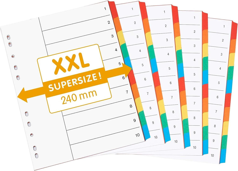 5x6 22,3 x 29,7cm separadores para registrar en 6 colores diferentes organizaci/ón en oficina perfect line 5 registrador de colores de 6 piezas con car/átula