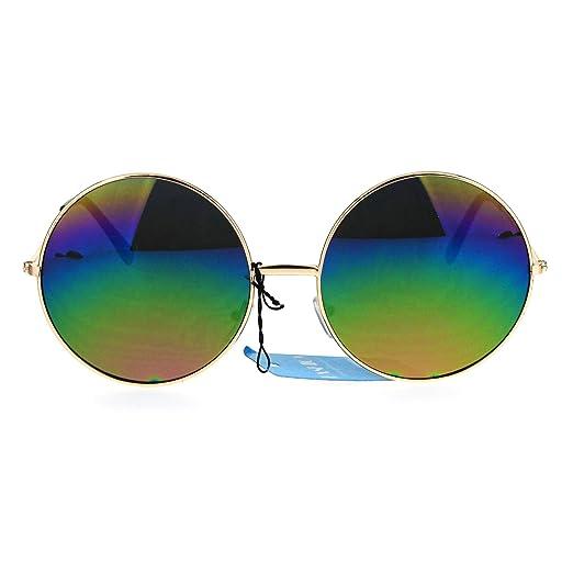 bfd3d257e8 Womens Rusta Rainbow Mirror Lens Large Hippie Round Circle Lens Sunglasses  Gold