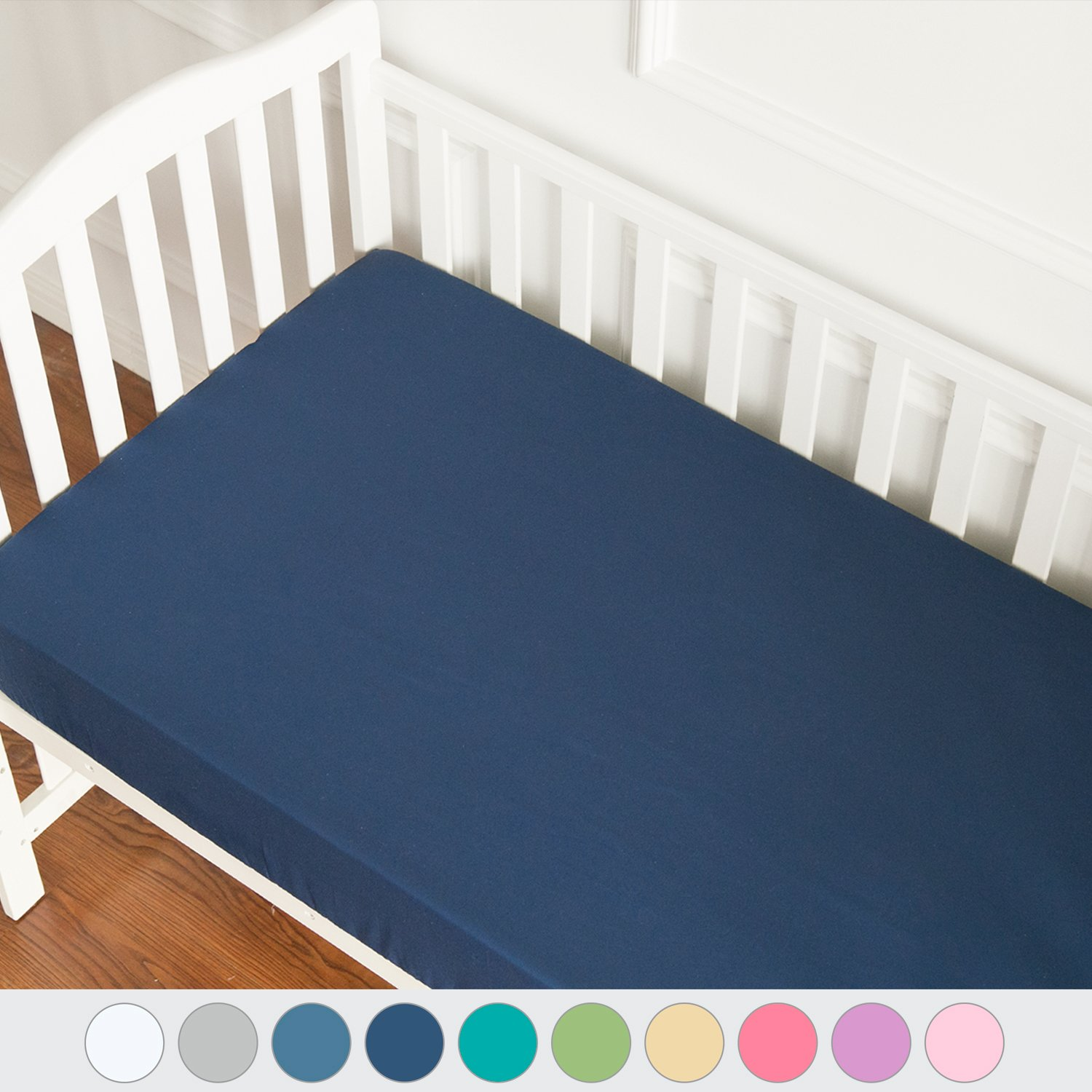 """TILLYOU Microfiber Silky Soft Crib Sheets Boy, Fitted Toddler Mattress Sheets, Breathable Soft Cozy Hypoallergenic Baby Sheet, Navy Blue 28""""x52"""""""