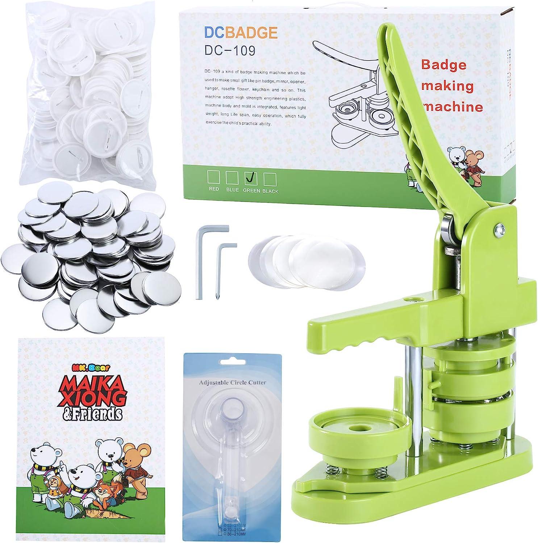 MK.Bear Installation-Free Button Badge Maker Machine 58mm 2/¼ in Green DIY Pin Button Maker Press Machine Badge Punch Press with Free 100pcs Button Parts/&Pictures/&Circle Cutter/&MK.bear Magic Book