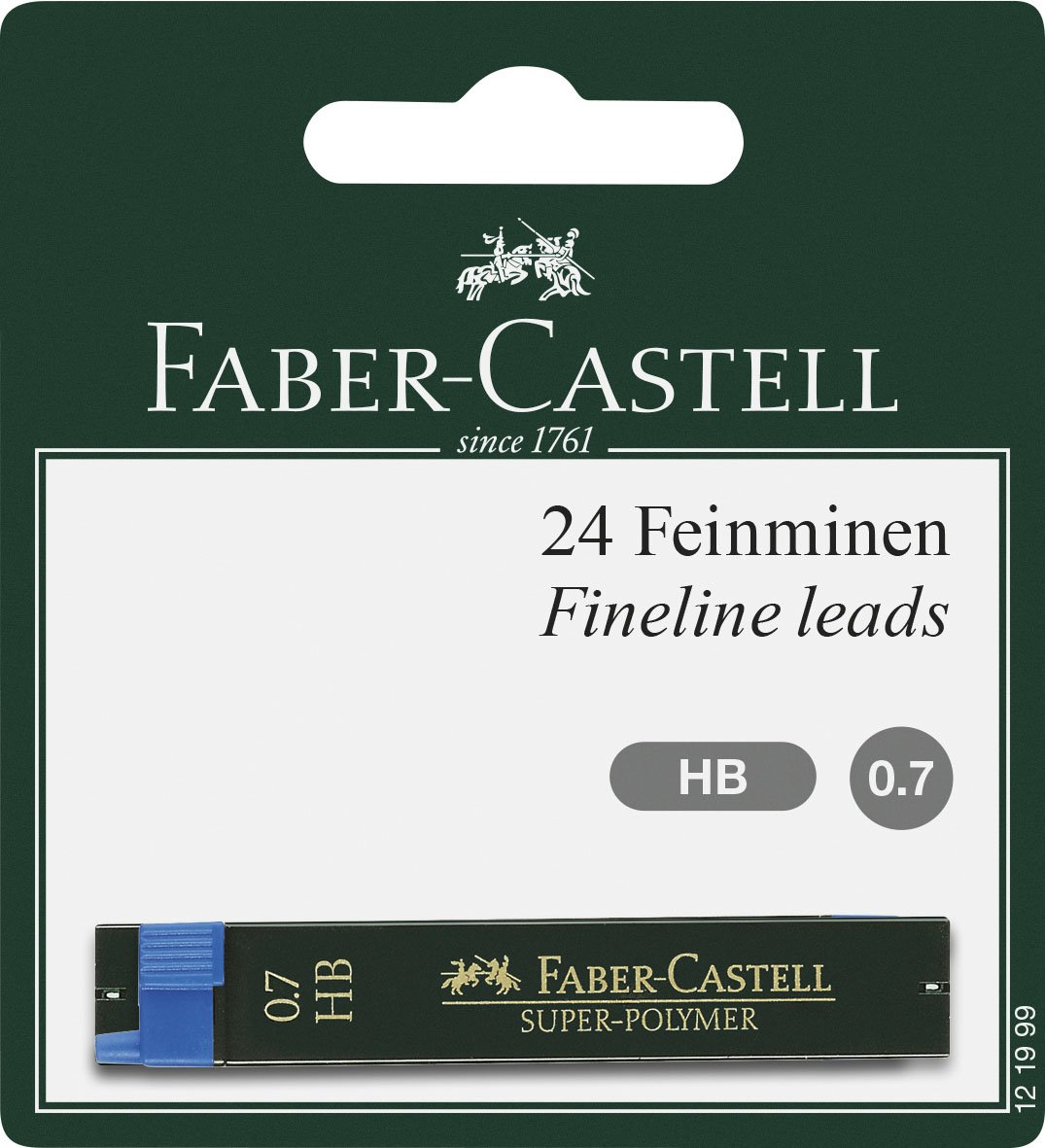 Faber-Castell 121999–Mine super-polymer, Durezza HB, 0.7mm, 24pezzi