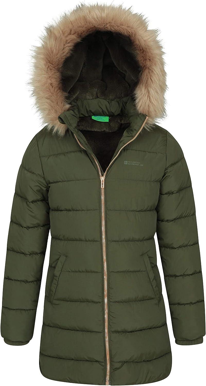 Longline Hiking Faux Fur Hood Rainwear Mountain Warehouse Galaxy Fleece Lined Kids Padded Jacket Travelling for Winter Water Resistant Girls /& Boys Puffer Jacket