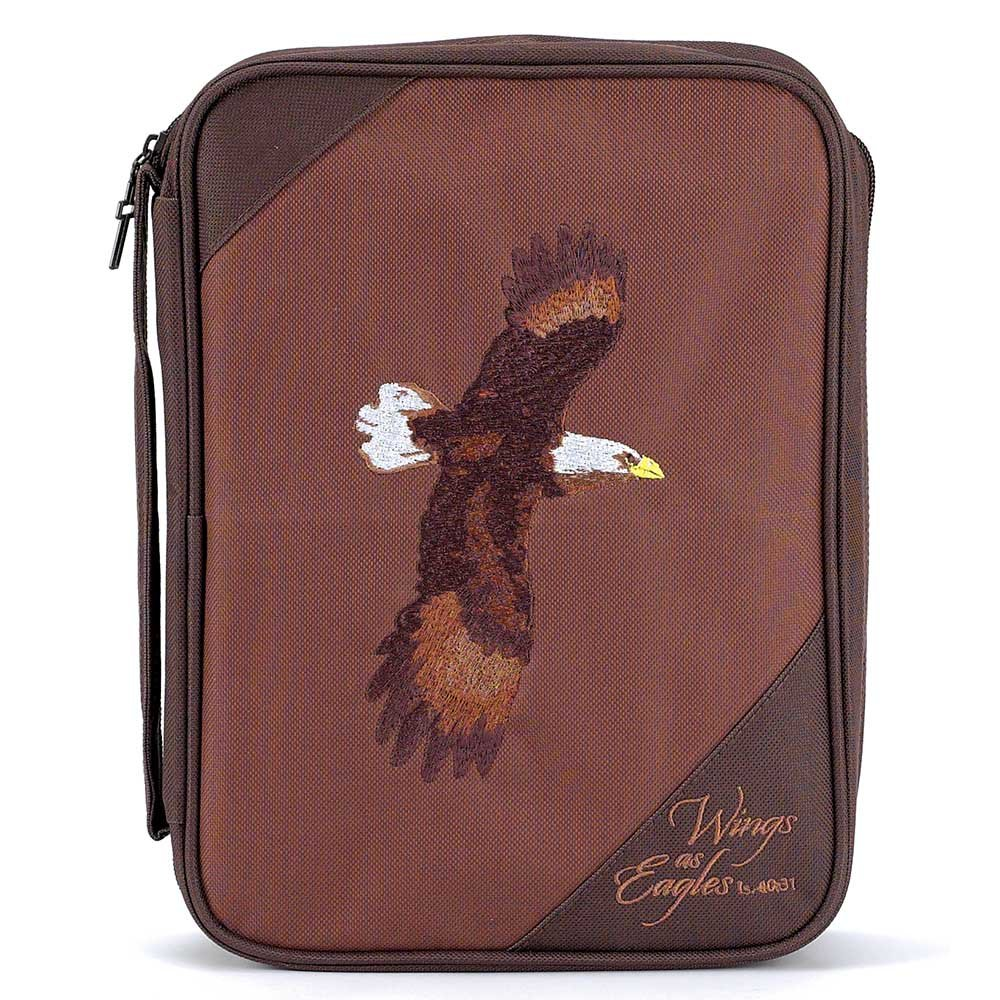 Brown Eagles Isaiah 40:31 Reinforced Polyester 8.5 x 11.5 Bible Cover Case with Handle