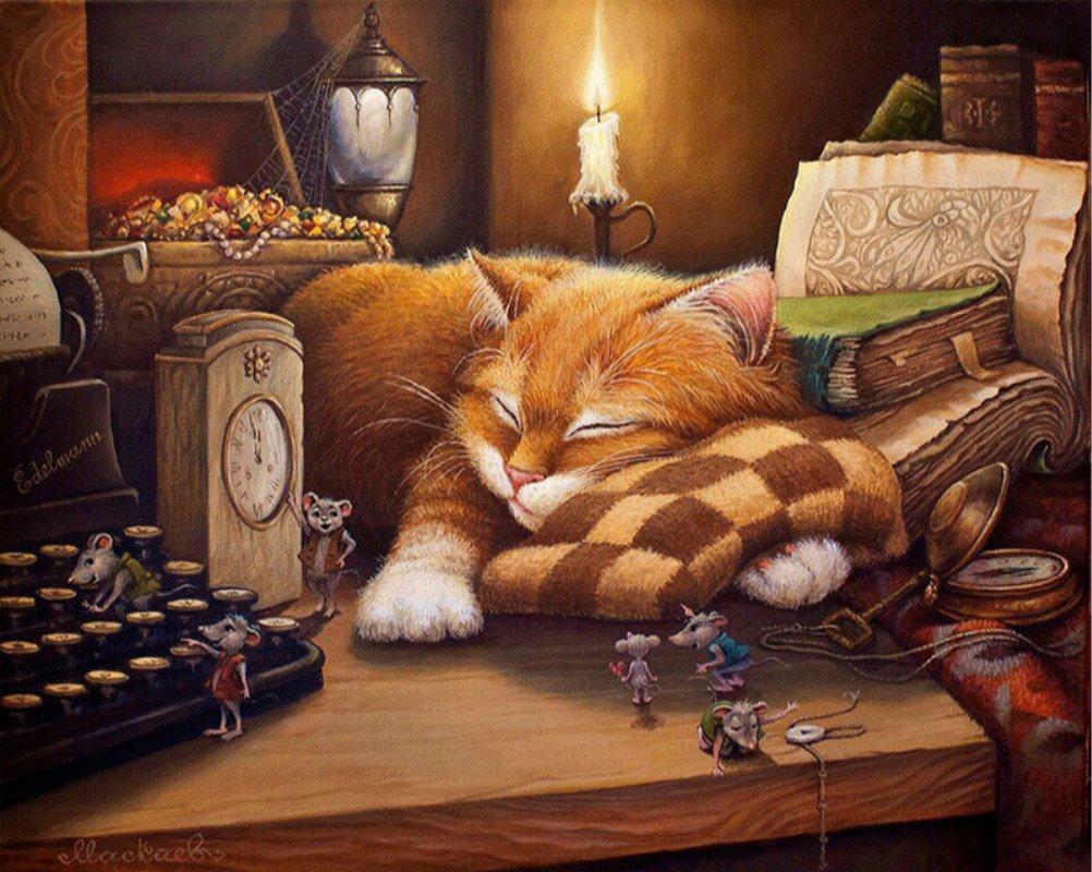 veille Chat DIY Peinture par numéro animaux peinte à la main Tableau peinture par numéros pour décoration de maison, Sleep Cat, unframed DE LAMP