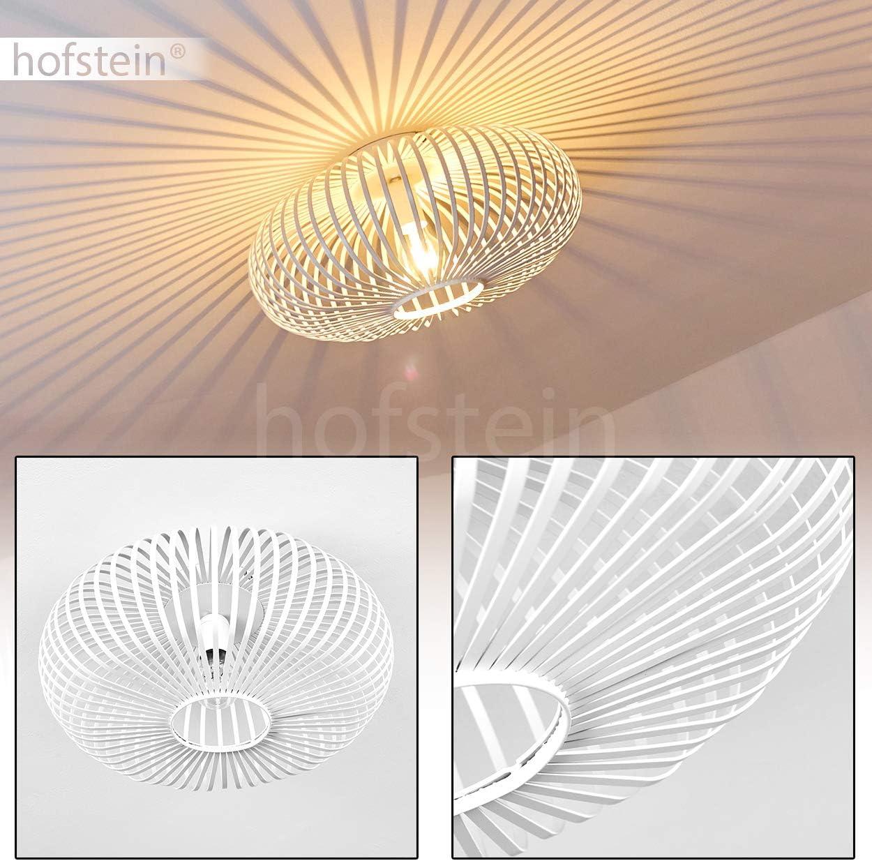 Lámpara de techo metálica Lepa de diseño extraordinario de puntales metálicos blancos, gran efecto luminoso en el techo, adecuada para salón, toma de corriente E27 máx. 60 W