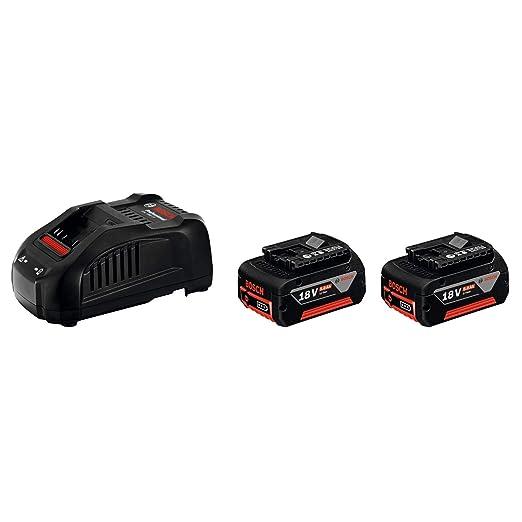 Bosch Professional Power Set 18 V 5,0 Ah - Cargador rápido + batería de litio (2 baterías x 5.0 Ah, cargador 14,4 / 18V)