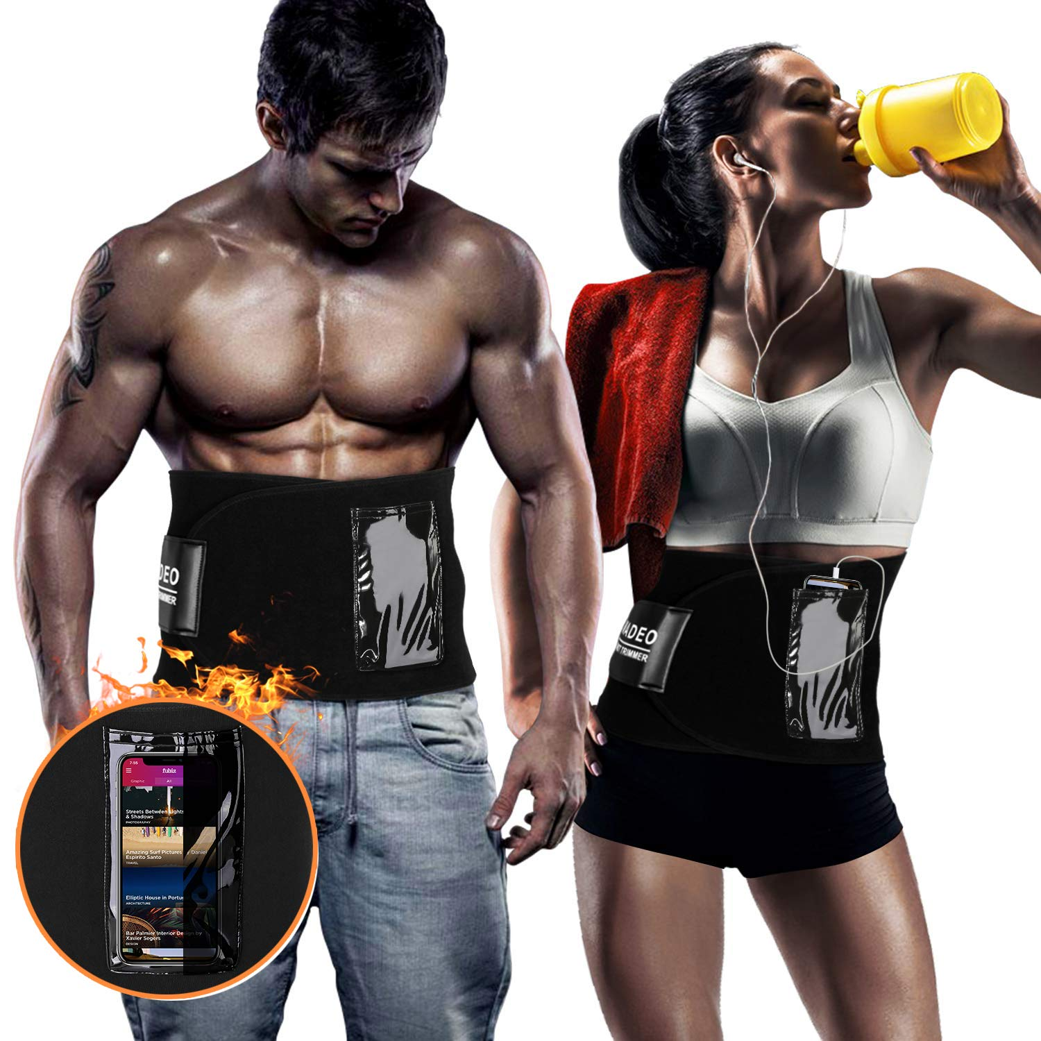 WADEO Waist Trimmer Belt with Pocket for Men Women Waist Trainer Body Shaper Band Adjustable Straps for Fitness Neoprene Sport Wrap Lower Back Lumbar Support Sauna Suit Effect Abdominal Trainers