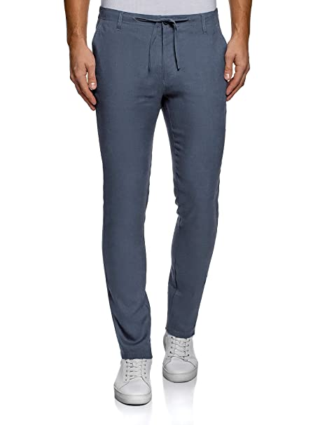 90b7f5b199c5 oodji Ultra Uomo Pantaloni in Lino con Laccetti  Amazon.it  Abbigliamento