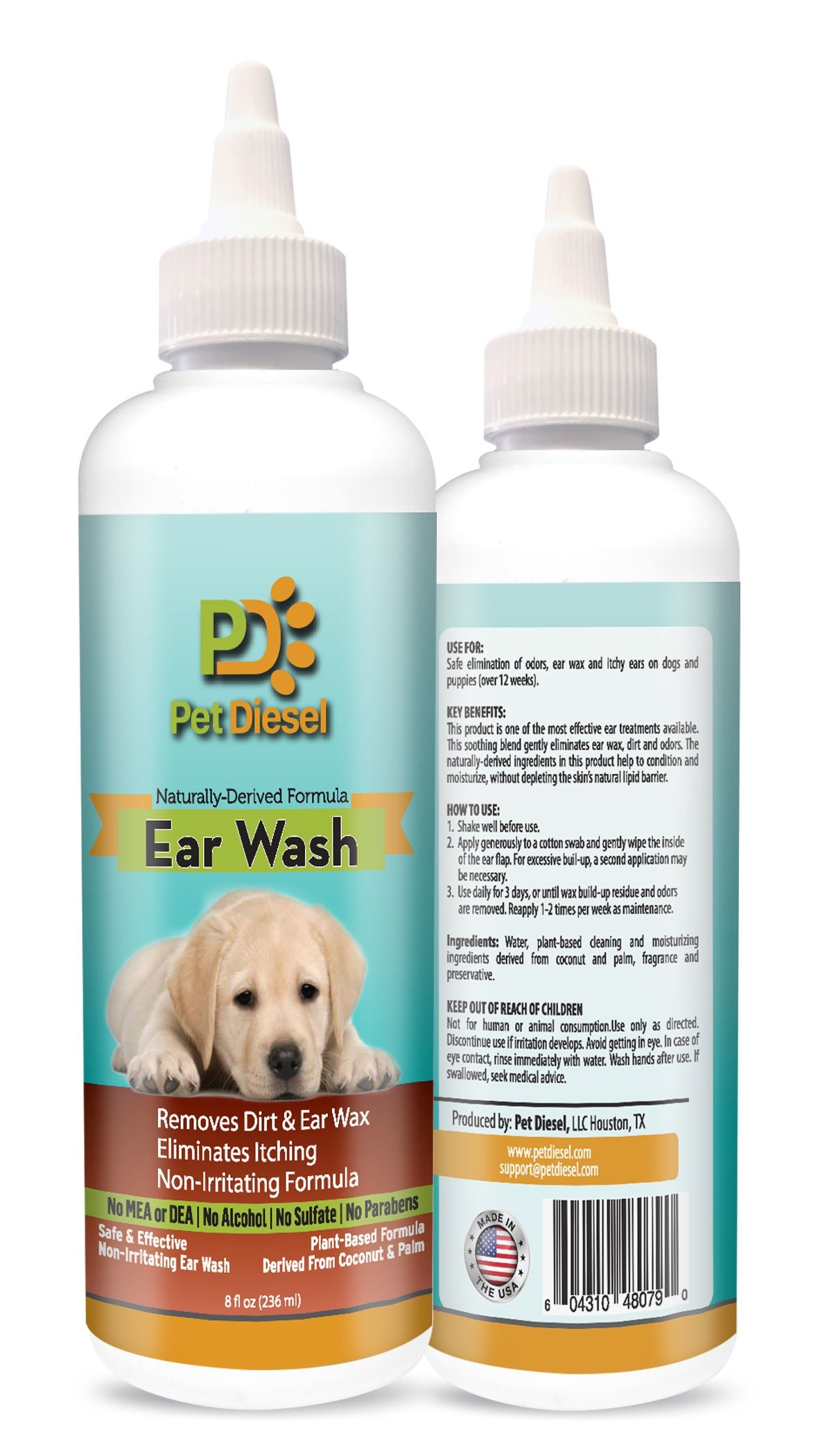 Dog Ear Cleanser Ideal For Ear Wax Removal, Itchy Ears, Yeast & Odor Elimination - Effective & Non Irritating Naturally Derived Formula With Coconut, Palm Oil & Citrus Extracts - 8 FL Oz