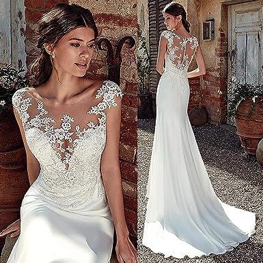 Wedding Dress Gentle Soft Satin Mermaid Wedding Dress Lace Applique Sheer Bridal Gown Wedding Dresses For Bride Amazon Co Uk Clothing