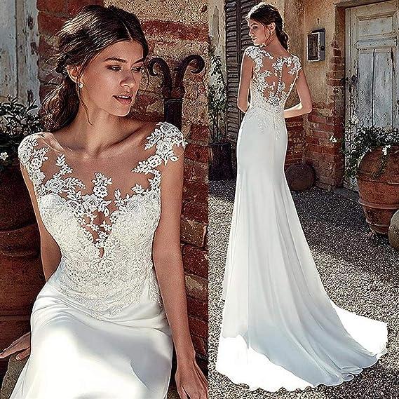 Vestido de novia Vestido de novia de sirena suave y satinado suave ...