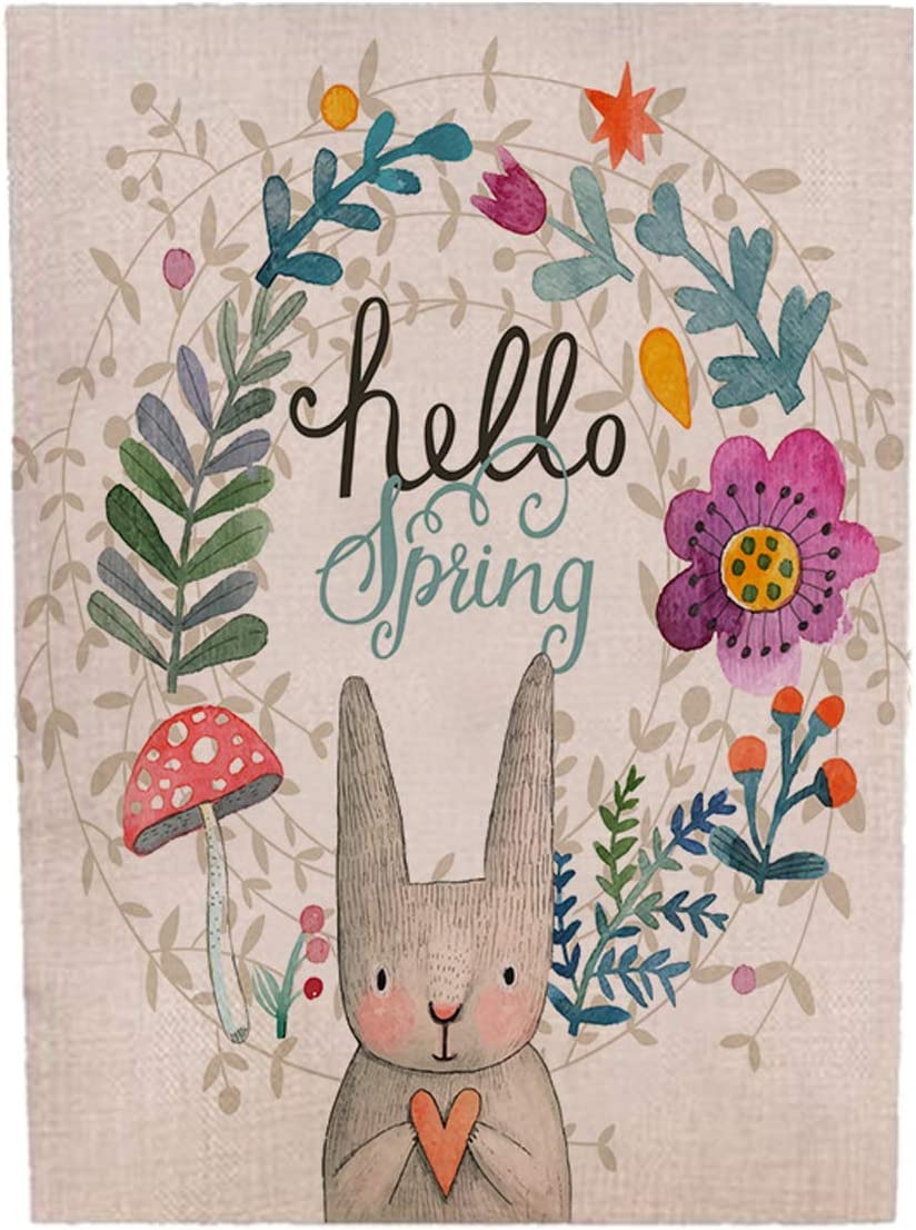 Zotemo Burlap Hello Spring Wreath Garden Flag with Floral and Bunny Rabbit Signs, Double Sided Vertical Flag for Easter Yard Decorations 12 Inch x 18 Inch