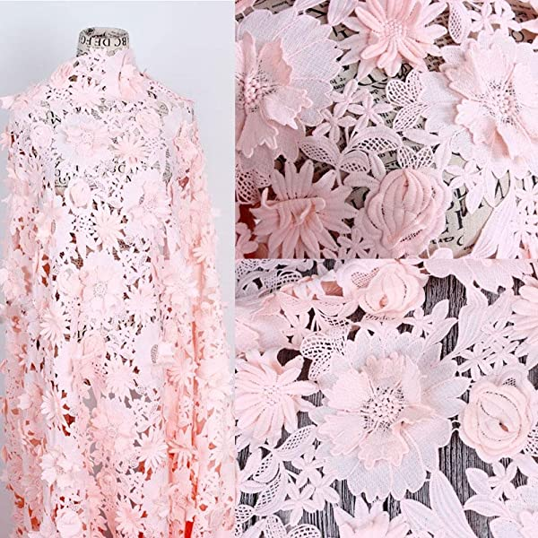 Pink Lace 3D  Lace 3d pink  Fabric bridal lace floral  Pink 3D fabric Pink  Tulle embroidery Fashion lace floral  By the 0.5  Yard