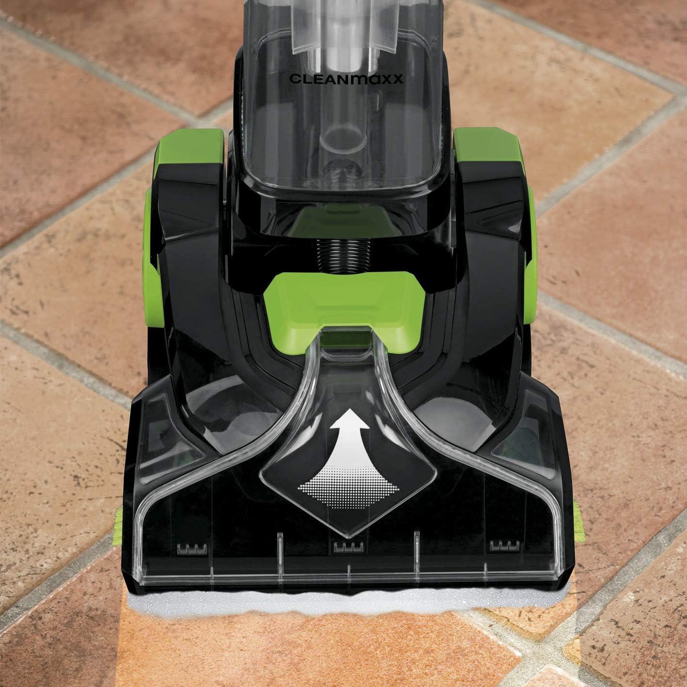 Teppichreiniger Pro, schwarz Shampoo Reinigungssystem mit Vibrations- und Seitenb/ürsten Waschsauger inkl 800 Watt CLEANmaxx Bodenreinger f/ür Hartb/öden und Teppiche